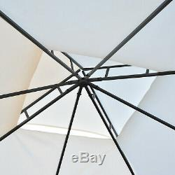 Outsunny 3 x 3m 2 Tier Metal Gazebo Canopy Awning Outdoor Patio Garden Rattan