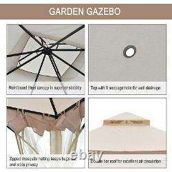 Outsunny 3x3M Metal Gazebo Outdoor Party Tent Shelter Garden Canopy Beige