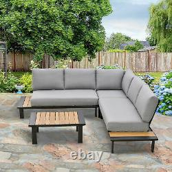Outsunny 4 PCS Garden Furniture Conversation Set with Loveseat Corner Sofa Table