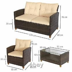 Outsunny 4 PCS Garden Rattan Coffee Table Chair Furniture Set with Cushions Beige