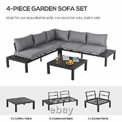 Outsunny 4PC Aluminium Garden Corner Sofa Set Coffee Table Padded Outdoor Patio