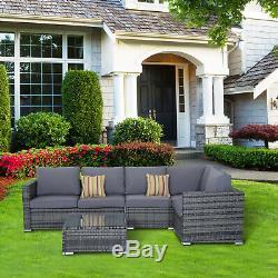 Outsunny 4PC Garden Rattan Corner Sofa Set Coffee Table Wicker Furniture Outdoor