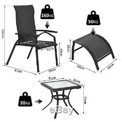 Outsunny 5 Pc Sun Lounger Set Chair Foot Rest Table Adjustable Garden Recliner