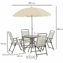 Outsunny 6PC Garden Dining Set Outdoor Furniture Folding Chairs Table Parasol
