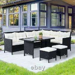 Outsunny 6PC Outdoor Rattan Sofa Dining Table Stool Lounger Garden Furniture Set