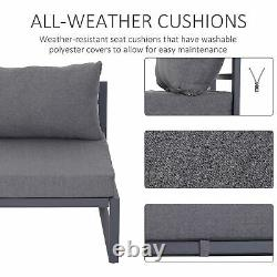Outsunny 6pcs Garden Sectional Sofa Set Aluminum Frame Coffee Table Footstool