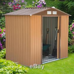 Outsunny 6x4ft Garden Shed Patio Foundation Storage Unit Metal Tool Box Khaki