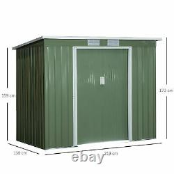 Outsunny 7 x 4ft Metal Garden Storage Shed withFoundation Double Door & Window