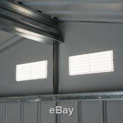 Outsunny 9 X 6FT Outdoor Storage Garden Shed with2 Door Galvanised Metal Grey