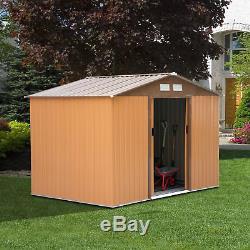 Outsunny 9x6ft Garden Shed Outdoor Foundation Storage Unit Metal Tool Box Khaki