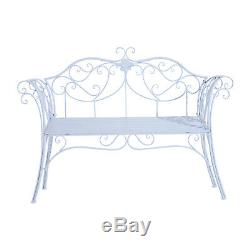 Outsunny Garden Chair Metal Bench Outdoor Patio Deck Seat Yard Furniture Seating