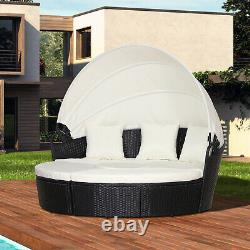 Outsunny Garden Cushioned Outdoor Rattan Round Sofa Bed Table Set Hammock Black