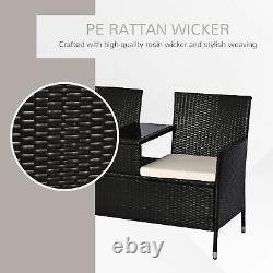 Outsunny Garden Rattan Companion Seat Outdoor Chair Table Set Patio Seat Bench