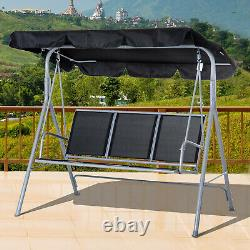 Outsunny Metal Swing Chair Garden Hammock 3 Seater Patio Bench Canopy Lounger