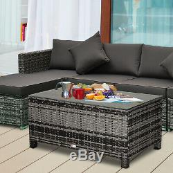 Outsunny PE Wicker Rattan Garden Coffee Table with Glass Top Steel Frame Garden