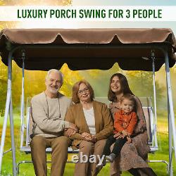 Outsunny Patio Mesh 3 Seater Swing Chair Garden Hammock Canopy Bench Seat Brown