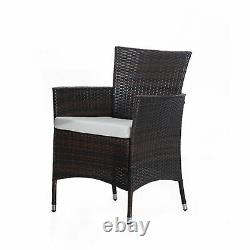 Outsunny Rattan Dining Set Garden Patio Furniture 6 Chairs Table Wicker Brown