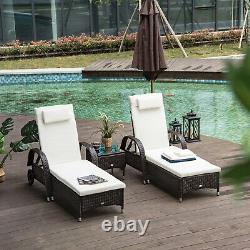 Outsunny Rattan Sun Lounger Side Table Day Bed Recliner Garden Chair with Wheels