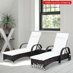 Outsunny Rattan Sun Lounger Table Set Garden Patio Wicker Chair Reclining Wheel