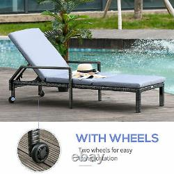 Outsunny Rattan Wicker Chaise Sun Lounger Garden with Adjustable Backrest & Wheels