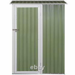 Outsunny Steel Garden Stool Storage Shed Sloped Roof Light Green 143x89x186cm