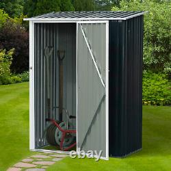 Outsunny Steel Garden Storage Shed Garden Stool Storage Sloped Roof Grey