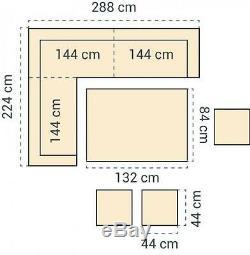 PAPAVER RANGE 9 Seater Rattan Corner Sofa & Dining Set Garden Furniture Grey