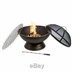 PPeaktop Outdoor Garden Patio Round Bowl Steel Log Burning Fire Pit HR30701AA