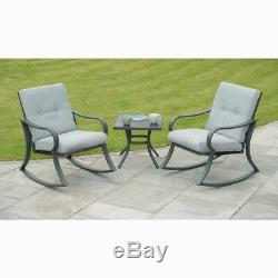 Padded Rocking Bistro Garden/Patio Furniture Set-GREY