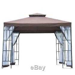 Party Tent Marquee Canopy Pavillion Mesh Sidewall Garden Steel Brown 3m x 3m