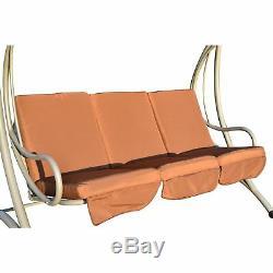 Patio Garden Swing Chair Metal Swinging Hammock Cushioned Bench Seat 3 Seater