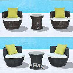 Patio Outdoor Garden Rattan Furniture Vase Stackable Chair Set 3 PCs 2 Colours