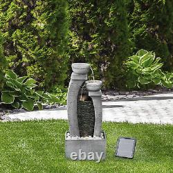 Peaktop Solar Power Water Fountain Garden Slate Grey Ornament, Light PT-SF0002