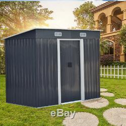 Pent Garden Shed Metal Storage Unit with Floor Frame Foundation Kit 8ft x 4ft