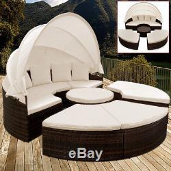Poly Rattan Garden Day Bed Lounge Sun Folding Canopy Balcony Terrace Sofa Wicker