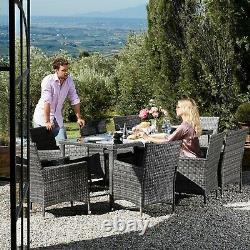 Poly Rattan Garden Dining Set Furniture Table Chair 9 PCs Outdoor Patio Grey
