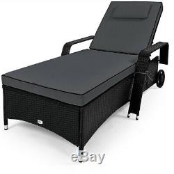 Poly Rattan Sun Lounger Day Bed Garden Furniture Patio Outdoor Reclining Chair