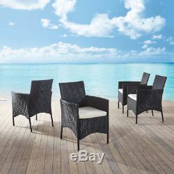 Rattan Chairs Garden Furniture Dining Chair 4 SET Outdoor Garden Chairs Black