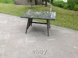 Rattan Dining Table Outdoor Garden Furniture Tempered Glass Top Grey Mixed