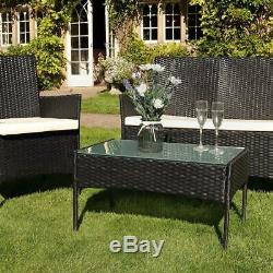 Rattan Garden 4Pc Furniture Set Conservatory Patio Outdoor Table Chairs Black UK