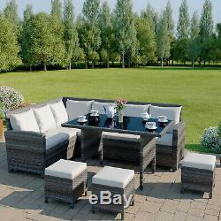 Rattan Garden Furniture Corner Set Dining Table Dark Mixed Grey Black FREE COVER