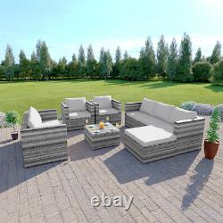Rattan Garden Furniture Corner Sofa Armchairs Table Ottoman 7 Seater FREE COVER