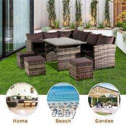 Rattan Garden Furniture Corner Sofa Dining Table Set Stools Bench Grey 9 Seat UK