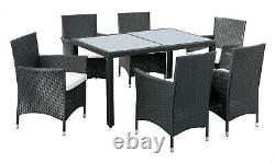 Rattan Garden Furniture Dining Table And 6 Chairs Dining Set Outdoor Patio