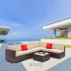 Rattan Garden Furniture Lounge Set Brown Khaki Outdoor Sofa Chair Corner Patio