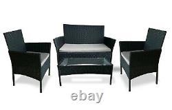 Rattan Garden Furniture Set 4 Piece Chairs Sofa Table Outdoor Patio Set Black