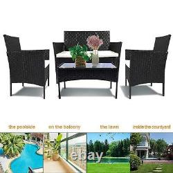 Rattan Garden Furniture Set 4 Piece Chairs Sofa Table Patio Outdoor Conservatory