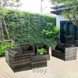 Rattan Garden Furniture Set Corner Sofa Armchairs Coffee Table Ottoman 7 Seater