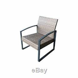 Rattan Garden Patio 4 Seater Set with 2 Seater Sofa & 2 Armchair in Grey Metal