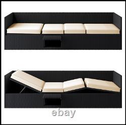 Rattan Garden Sofa Bench Sun Lounger Patio Double Day Bed Outdoor Recliner Bed